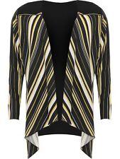 New Womens Zip Shoulder Striped Top Ladies Plus Size Waterfall Chiffon Cardigan