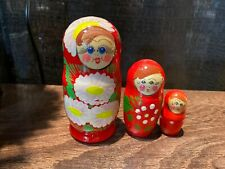 Russian Nesting Dolls Matreshka Beautiful Flowers 3 pcs Christmas Gift!