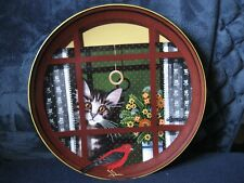 "Anna Perenna Porcelain Art Plate ""Walter's Window"" Uncle Tad's Cats"