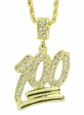 """Hip Hop Emoji 100 Iced Out Cz 14k Gold Plated 24"""" Rope Necklace"""