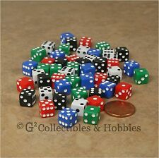 NEW Set of 50 Mini 8mm Six Sided Dice - 5 Colors Small RPG Game MTG 5/16 inch D6