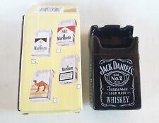 Jack Daniels Old No7 Black Ceramic Ashtray Cigarettes Pack Shape Advertising Nib