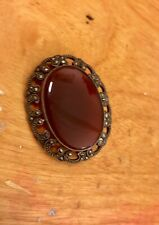 Silver 835 Brooch Pin Glass Amber Antique Jewelry