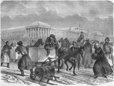 RUSSIA. St Petersburg. Ice Sledges 1871 old antique vintage print picture