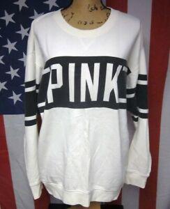PINK sexy med oversized sweatshirt Victoria's Secret two-tone crewneck B&W retro