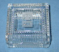 """Crystal Trinket Box 3-3/4""""x3-3/4"""" signed ABC - NEW in Box"""