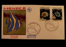 MONACO PREMIER JOUR FDC YVERT  1484/85       POISSONS      3,20+2,20F     1985