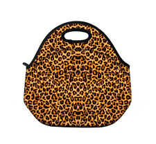 Leopard Insulated Neoprene Lunch Tote Bag Cool Bag Picnic Bag with Zip & Handbag