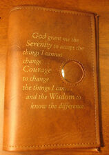 Alcoholics Anonymous AA Big Book Serenity Prayer Medallion Holder Tan Cover