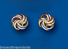 9ct Three Colour Gold Knot Stud Earrings 5mm (6910)