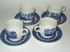 Churchill England BLUE WILLOW Cup&Saucer Sets Lot of 4