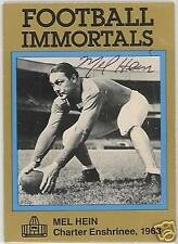 MEL HEIN  AUTOGRAPHED FOOTBALL HALL OF FAME NEW YORK GIANTS   IMMORTALS CARD