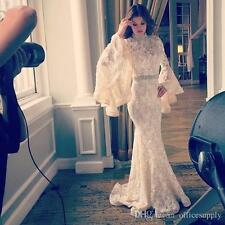 High Neck Long Sleeve Lace Evening Dresses Mermaid White Evening Gowns Custom