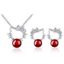 Silver Dark Red Agate Kitty Cute Cat Jewellery Set Drop Earrings & Necklace S908