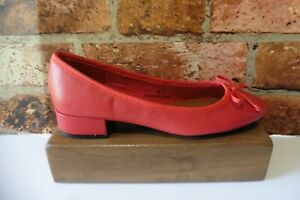 M&S COLLECTION RED LEATHER LOW HEEL BALLERINA SHOES SIZE UK 4 NEW