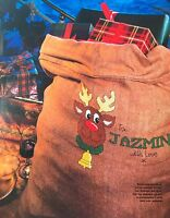 CROSS STITCH PATTERN Rudolph Reindeer Personalised Christmas Sack CHART ONLY
