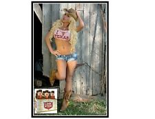 Lonestar Beer Cowgirl In Pink Top Refrigerator / Tool Box Magnet