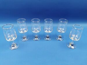 6 x Vintage Clear Glass Stemmed Sherry / Port  Glasses - 113mm Tall
