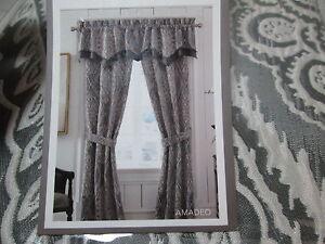 Croscill AMADEO Umbrella Window Valance +  (2) Lined Panels & Tiebacks ~ Smoke