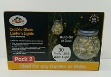 2PCS SOLAR-POWERED GARDEN 30 LED DECOR LANTERN Crackle Glass Light Warm White
