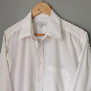 Vintage CHRISTIAN DIOR White on White Embossed Stripe Formal Shirt Size 15.5
