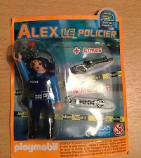 PLAYMOBIL PLAYMO FIGURINE DE MAGAZINE PUB ALEX LE POLICIER D ' ELITE FUSIL