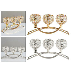 3 Arms Crystal Candelabra Candle Holders Dining Table Decor Wedding Centerpiece