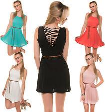 Koucla Minikleid Gürtel Kleid Schnürung Partykleid Cocktailkleid Dinner Dress