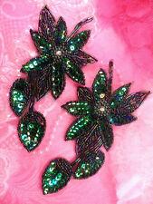 XR51x Green Aurora Borealis Black AB Sequin Mirror Pair Beaded Flower Applique
