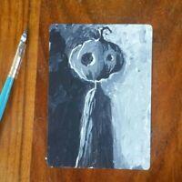 Original ACEO sketch card  Pumpkin Jack Halloween miniature painting