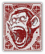 "Angry Monkey Head Grunge Car Bumper Sticker Decal 4"" x 5"""