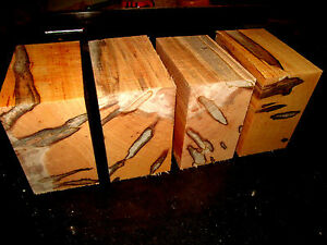 "FOUR (4) BEAUTIFUL AMBROSIA MAPLE BOWL BLANKS LUMBER WOOD LATHE CARVE 6 X 6 X 3"""