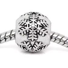 Silver Christmas Snowflake Spacer Charm Bead European Charm Bracelets