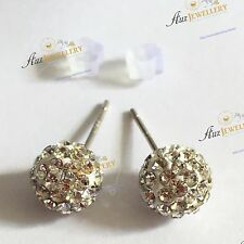 Real 925 Sterling Silver with Shiny Crystal Ball  Stud Earrings