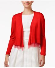 Tommy Hilfiger NEW Red Womens Size Small S Open-Front Lace Hem Cardigan $49