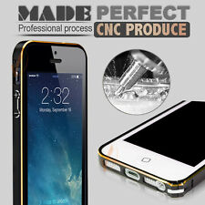 For iPhone 5 / 5s Bumper Frame Luxury Chrome Hard Case Cover REAL Tempered Glass