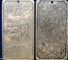 Collectibles Old Chinese 12 Zodiac - Sheep tibet Silver Bullion thanka amulet NR
