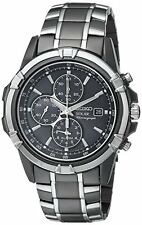 New Seiko Men's SSC143 Solar Chronograph Black Dial Stainless Steel Date Watch
