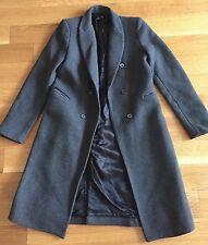 ZARA Woman WOOL Minimal Masculine Chic COAT JACKET Charcoal GRAY Size M