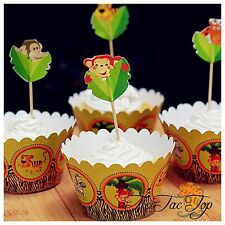 12pcs Jungle Animal Safari Zoo Cupcake Toppers + Wrappers. Jelly Cup Party Cake