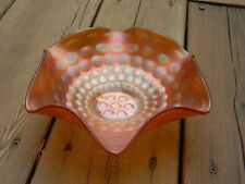 Antique Fenton Carnival Marigold Ruffled Coin Dot Bowl c1909