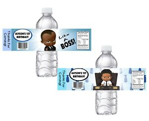 10 BLACK BABY BOSS CUSTOM BIRTHDAY PARTY FAVORS WATER BOTTLE LABELS WRAPPERS
