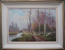 Superbe paysage Barbizon Tableau ancien de valeur Galien Laloue ? 1900 Encadré