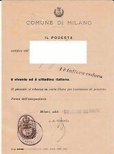 Antica marca amministrativa del Ventennio su documento di Milano - 5/5/1939