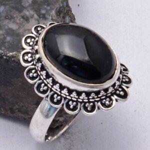 Black Onyx Ethnic Handmade Ring Jewelry US Size-7.25 AR 41595