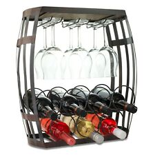 Wine Bottle and Glass Free Standing Counter Top Rack Fully Assembled-Wine Barrel