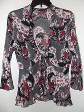 Clothing Co. by Notions Womens / Juniors open front sheer Blouse Top sz. L