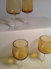 SHERRY LIQUEOR GLASSES Brown Tinted Shot Glasses Vintage Lot If 4