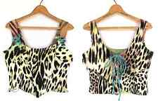 Just Cavalli Sz 48 L Bustier Corset Top Leopard Print Angel Charm Lace up