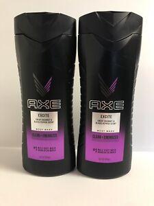 (2) Axe EXCITE Body Wash-Crisp Coconut & Black Pepper Scent-16oz. Each